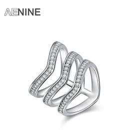 Discount v shape rings for women - AENINE Brand Luxury Women Rings Micro Rhinestone Three V Shape Ring Silver Color Fashion Jewelry for Women Girls R150370