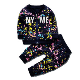 $enCountryForm.capitalKeyWord Australia - Spring Autumn Baby Boys Girls Print Ink Clothing Suits Children Jacket Pants 2Pcs Sets Fashion Kids Clothes Toddler Tracksuits