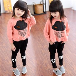 $enCountryForm.capitalKeyWord NZ - Children Clothing Autumn Winter Girls Clothes Hat printing T-shirt+Pant Kids Tracksuit Girls Sport Suit For Girls Clothing Sets