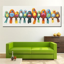 $enCountryForm.capitalKeyWord Australia - Large Handpainted Abstract Cartoon Oil Paintings on Canvas Modern Home Decor Wall Art Handmade Knife Colorful Birds Pictures