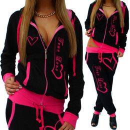 two piece skirt jacket pink Canada - New Fashion Printed 2pcs Hooded Tracksuits Womens Casual Sport Wear Zipper Jackets Pants Jumpsuits Outdoors Rompers Sj057u MX190810