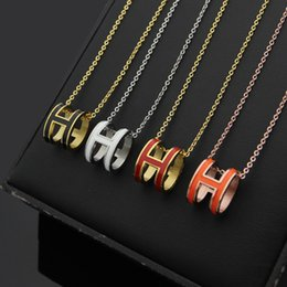 Discount gold letter pendants for men - Fashion Titanium Steel Ornament Oval Letter Pendant Necklace Black and White Red Orange Pink Necklace love necklace for