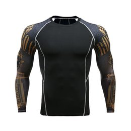 $enCountryForm.capitalKeyWord UK - Fitness Men Pro Compression Shirts MMA Rashguard Skin Base Layer Workout Long Sleeves T-shirt Crossfit Jiu Jitsu Tee Shirt homme