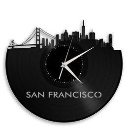 San Francisco Skyline Vinyl Record Wall Clock Cityscape Art Cool Unique Gift For Men Women Birthday Anniversary
