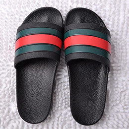 Best Highest Quality Summer Shoes Australia - BEST High Quality Designer striped sandals Men Summer Rubber Sandals Beach Slide Fashion Scuffs Slippers Indoor Shoes Size EUR 40-45