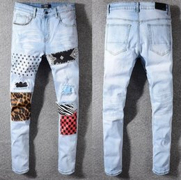 Discount leopard print motorcycle - New stitching leopard print Men Distressed Ripped Jeans Mens Straight Motorcycle Biker Jeans Causal Denim Pants Streetwe
