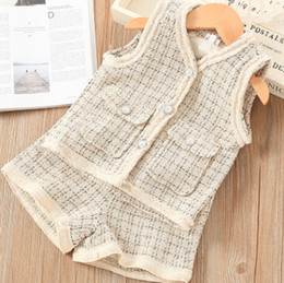 kids plaid vests NZ - Lady style Girls plaid princess outfits kids V-neck pearls buckle vest waistcoat+lattice shorts 2pcs sets fall new children clothing F10051