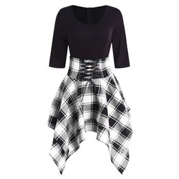83e3dcb98f5 Wipalo Elegant Black White Plaid Check Print Women Vintage Dress Audrey  Hepburn 60s Rockabilly Swing Retro Dress Party Vestidos