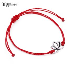 Bangles india online shopping - My Shape Znic Alloy Letter P Yoga Charm Bracelet Waxed Rope Polyester Adjustable Handmade Knot India Amulet Bracelets Bangles