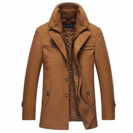 Wholesale mens long casual wool overcoats resale online - Mens Long Section Overcoat Thick Peacoat Woolen Trench Coat Winter Warm Male Wool Coat Casual Thick Windbreaker Jacket
