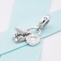 pandora baby Australia - 2019 Original Wholesale 925 Silver New SHOES BABY BOTTLE AND HEART CHARM Female Fashion Charm Pandora Bracelet Jewelry
