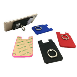wholesale card ring Australia - new Silicone Wallet Credit Card Holder Phone Sticker with Phone Ring Card Money Slot Wallet Pouch for iPhone Samsung Universal