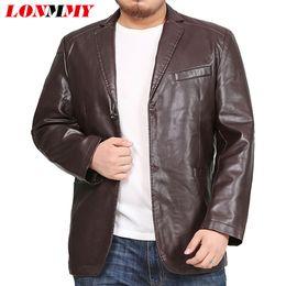 Leather tuxedo online shopping - LONMMY XL XL XL Leather jacket men blazer Mens jackets and coats Tuxedo suits mens Outerwear jaqueta KHAKI BLACK