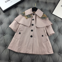 parent child clothing NZ - Parent-child cloak trench coat kids designer clothes autumn trench coat lined with classic grille kids size 90-150cm adult S-L