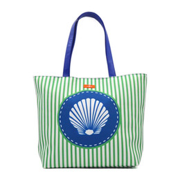 striped canvas tote bags wholesale UK - Stripe Beach Tote Women beach bag outside Summer fashion Large Capacity Striped bag tote canvas bag shopping bags