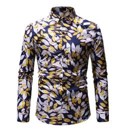 $enCountryForm.capitalKeyWord Canada - FeiTong Men Shirt Fashion Flower Tops and Blouses New Pattern Casual Lapel Printing Long Sleeved Shirt Mens Clothing Spring 2019