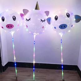 Atacado 18 polegada Porco Unicórnio BOBO Balão LED Bolas Dos Desenhos Animados 3 m LEVOU Luzes Luminosas Corda Balão Bolas para Festa de Casamento de Aniversário em Promoção