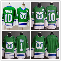 4d62f1841 10 Ron Francis 1 Mike Liut Hartford Whalers Carolina Hurricanes Fanatics  Branded Green Whalers Night Breakaway hockey Jersey CCM Stitched