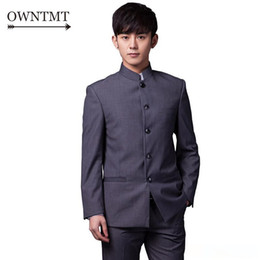 Chinese design suits online shopping - Men Suit Sets Chinese Tunic Suits Stand Collar Classic Elegance Suit Blazer Brand Design Business Formal Male Cotton Sets