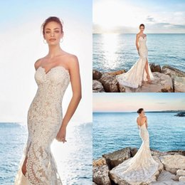 Zuhair Murad Summer Wedding Dress Australia - zuhair murad 2019 Sexy Sweetheart Mermaid Wedding Dresses Front High Slit New Full Lace Appliqued Strapless Beach Boho Bridal Gowns Train