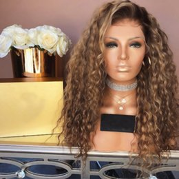 Fiber Root Australia - Sweetheart Natural Hairline Glueless Dark Roots Blonde Afro Kinky Curly Synthetic Lace Front Wigs Heat Resistant Fiber Ombre Wigs For Women