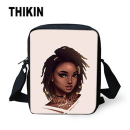 $enCountryForm.capitalKeyWord Canada - THIKIN Ladies Small Messenger Bags Art African Girls Print Shoulder Crossbody Bag for Women Custom Black Handbags Kids Book Bag