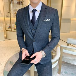 $enCountryForm.capitalKeyWord Australia - 2019 New Korean Version Of The Suit Men's Suit Trend Handsome Slim Three-piece Male Youth British Knot Wedding