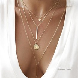 $enCountryForm.capitalKeyWord Australia - Classic Star Round Chain Vertical Pendant Multilayer Gold Necklace Women Fashion Banquet Party Clothing Accessories