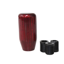 $enCountryForm.capitalKeyWord Australia - Long Red Cylinder Carbon Fiber Ball Shape Gear Shift Knob for AT MT Shifter Lever 3 Aadapters switching adapters Cool Funny Automobile