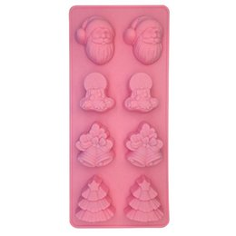 christmas tree silicone mould 2019 - Christmas Cake Moulds DIY Baking Model Silicone Christmas Small Trees Santa Claus Bell Shaped Baking Moulds HHA713 cheap