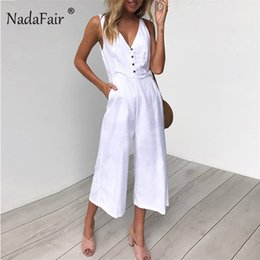 $enCountryForm.capitalKeyWord Australia - Nadafair Jumpsuits Women Casual Cotton Linen Rompers Womens Jumpsuit 2019 Summer V Neck High Waist Wide Leg Jumpsuits White T4190612