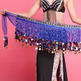 $enCountryForm.capitalKeyWord NZ - Multi Color Chiffon Belly Dance Hip Scarf Coin Sequin Belt Skirt Tassel Hip Wrap