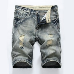 Torn jeans fashion online shopping - New Fashion Leisure Mens Ripped Hole Short Jeans Clothing Summer Shorts Breathable Tearing Denim Shorts For Male