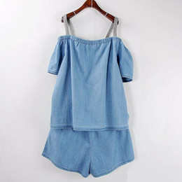 $enCountryForm.capitalKeyWord NZ - Chicever Spaghetti Strap Denim Two Piece Sets Summer Slash Neck Off Shoulder Top With Elastic High Waist Shorts Suits Nice New
