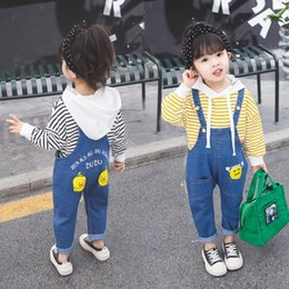 overall jumpsuits baby jeans Australia - 2019 Spring Autumn New Fashion Brand Cotton Jumpsuit For Baby Girl Cute Print Loose Denim Overalls Children Jeans Pants Ws277