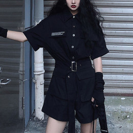 black jumpsuit wide legs NZ - Fashion tooling jumpsuit female summer 2020 new Solid black high waist short sleeved bodysuit wide leg shorts suits ropa mujer