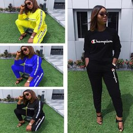 Wholesale women autumn sportwear for sale – custom Champion Tracksuits Women Designer Autumn Winter Outfits Tshirt Pullover Pants Leggings Two Pieces Sportwear Autumn Sport Suits C91605