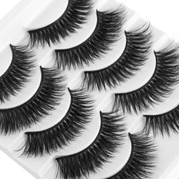 Packed False Eyelashes Wholesale Australia - NEW 5 Pairs Pack 6D Soft Mink Hair False Eyelashes Natural Thick Long Eye Lashes Wispy Makeup Beauty Extension Tools Wimpers