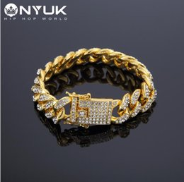 Wholesale 18K Yellow Gold Plated Cubic Zircon Diamond Fashion Bracelets Bangles High Quality Gold Plated Iced Out Miami Cuban Bracelet Hip Hop mm