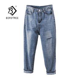 Women Blue Jeans Pants Australia - 2019 New Women Blue Ripped Hole High Waist Jeans Vintage Denim Harem Pants Loose Washed Pockets Bottom 5XL Plus Size B95406F