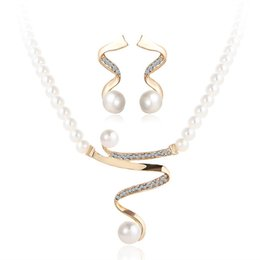 $enCountryForm.capitalKeyWord UK - Pearls Jewelry Sets Necklace Earrings Baroque Pearl Sets For Women Christmas Gift Party Jewelry Wedding Jewlery Set