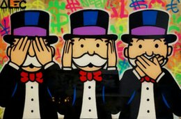 art three panels UK - Alec Monopoly Graffiti art decor Three Monkeys tribute Home Decor Handpainted &HD Print Oil Paintings On Canvas Wall Art Pictures 1002