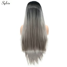 $enCountryForm.capitalKeyWord Australia - Ombre Light Grey Silky Straight Hair Glueless Long Hair Synthetic Lace Front Wigs With Black Root Soft Women's Makeup Wig