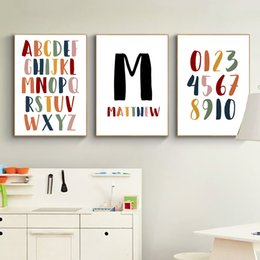 Wall letters art online shopping - Custom Name Poster Letter Canvas Painting Number Posters And Prints Cartoon Poster Nursery Wall Art Pictures For Baby Room Decor