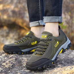 Camp Shoes For Men Australia - 2018 Men Trekking Shoes Rubber Non-slip Breathable Outdoor Sports Hiking Camping Tactical Shoes For Men Big Size EUR39-48 Grey Green