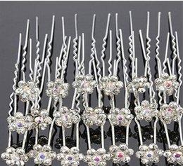$enCountryForm.capitalKeyWord Australia - Wedding Decor Bridal Hairpin Hot Hair Accessories Full Diamond U Hairpin Hair Fork Disc Rhinestone Flower Diamond Hairpin