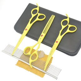 Dogs Hair Cuts Australia - 7.0 Inch Meisha Professional Pet Gromming Hair Cutting Shears Steel Japan 9CR Dogs Thinning Scissors Curved Tijeras with Comb Case HB0197