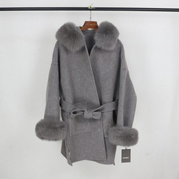 Wholesale wool hooded coat resale online - OFTBUY Real Fur Coat Winter Jacket Women Natural Fox Fur Collar Cuffs Hood Cashmere Wool Woolen Oversize Ladies Outerwear