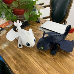 dragon night fury plush NZ - 2pcs 35cm How to Train Your Dragon 3 White Toothless Plush Toys Night Fury White Light Fury Dragon Soft Stuffed Animal Doll kids LY191217