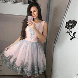 2020 New Arrival Short Mini Homecoming Dresses Jewel Neck Lace Appliques Sleeveless A Line Gray Tulle Plus Size Party Dress Cocktail Gowns on Sale